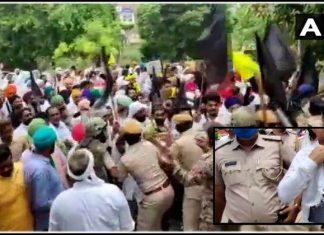 protesters tear off bjp mlas clothes police lathicharge farmers trishulnews » Trishul News Gujarati Breaking News